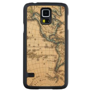 Engraved Western Hemisphere Map Maple Galaxy S5 Slim Case
