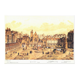 Engraving of Saints Innocents Cemetery in Paris Gallery Wrap Canvas