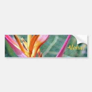 Enhanced Hawaiian Heliconia Flower Bumper Sticker