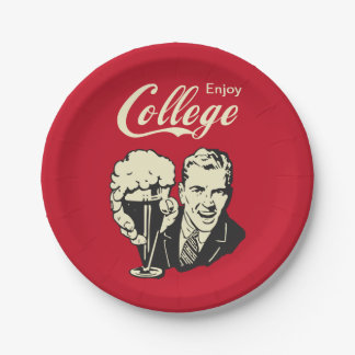 Enjoy College Life for Freshman - Retro Funny 7 Inch Paper Plate