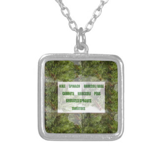 ENJOY LEAFY GREEN VEGETABLES HEALTHY CHOICES SQUARE PENDANT NECKLACE