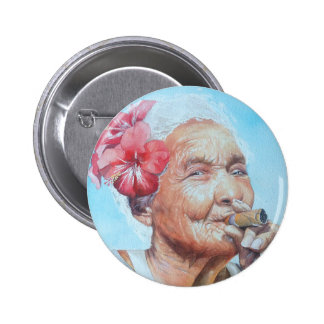 enjoy life  (lady with cigar and flower) 6 cm round badge