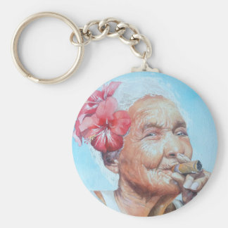 enjoy life  (lady with cigar and flower) basic round button key ring