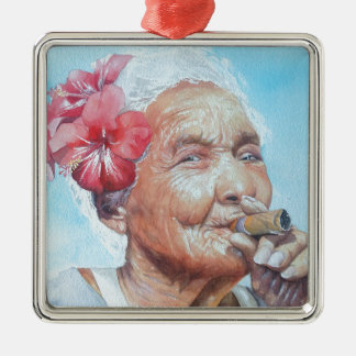 enjoy life  (lady with cigar and flower) Silver-Colored square decoration