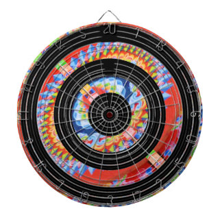 Enlarged Jewel Print  on Satin Silk Black Wheels Dartboard
