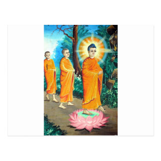 Enlightened Buddhists in orange robes Postcard