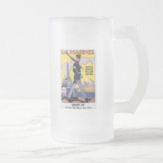 Enlist For Active Service World War 2 16 Oz Frosted Glass Beer Mug