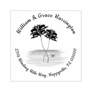 Entwined Palm Trees Return Address Rubber Stamp