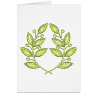 Envelop with crystal laurel wreath greeting card