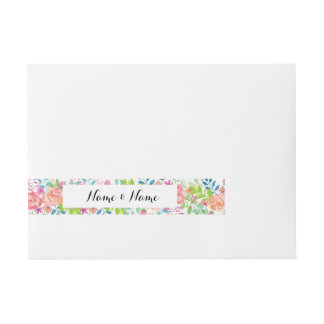 Envelope Wrap Floral Wedding Elegant Flowers Wraparound Address Label