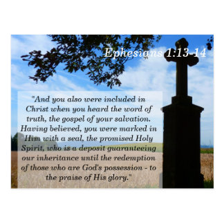 Ephesians 1 13 14 Cross Scripture Memory Card