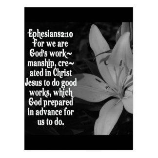 EPHESIANS 2:10 BIBLE SCRIPTURE QUOTE POSTCARD