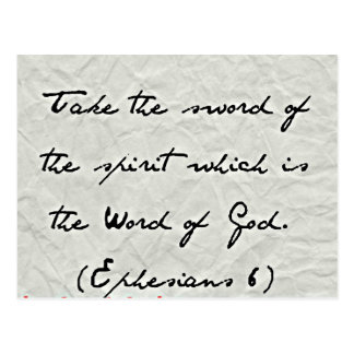 Ephesians Bible Take the sword of the spirit Postcard
