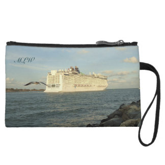Epic Pursuit - Gull and Cruise Ship Monogrammed Wristlet