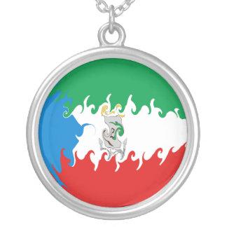 Equatorial Guinea Gnarly Flag Round Pendant Necklace