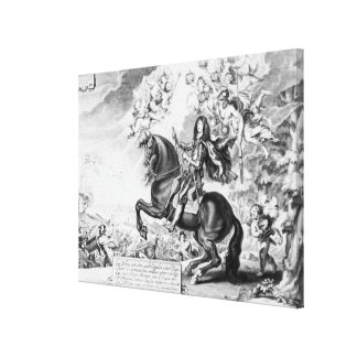 Equestrian Portrait of Charles II  with Gods Canvas Print
