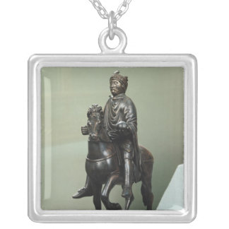 Equestrian statue of Charlemagne Silver Plated Necklace