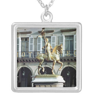 Equestrian statue of Joan of Arc Silver Plated Necklace