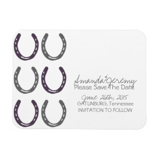 Equestrian Themed Horse Shoes Save The Date Rectangular Photo Magnet