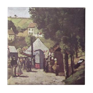 Eremitage, Pontoise by Paul Cezanne Tile