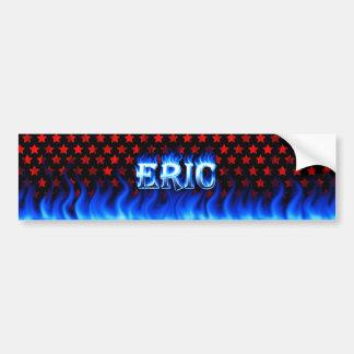 Eric blue fire and flames bumper sticker design.