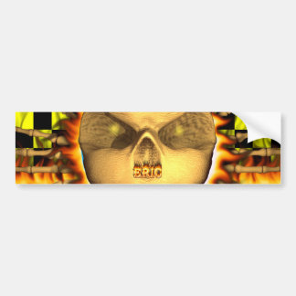 Eric skull real fire and flames bumper sticker des
