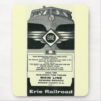 Erie Railroad Suburban Time Tables Cover 1958 Mouse Pad