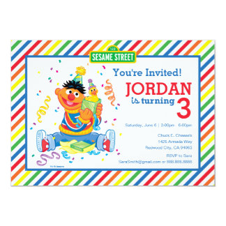 Ernie Striped Birthday Card
