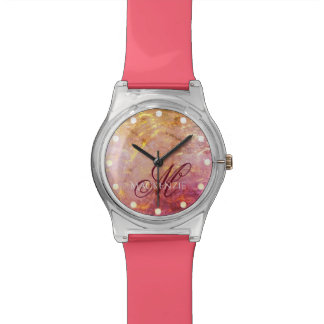 Erratic Bling | Name Watercolor Orange Pink Gold Watch