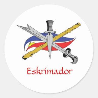 escrima-logo-transparent, Eskrimador Round Sticker