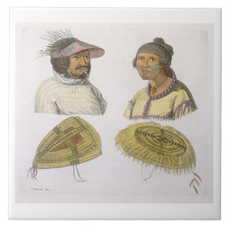 Eskimos from North America (colour engraving) Tile