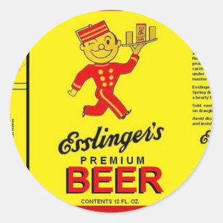 ESSLINGER'S PREMIUM BEER Running Waiter w Tray Classic Round Sticker