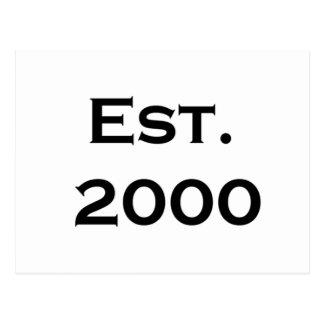established 2000 postcard