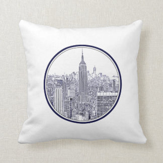 Etched Look NYC Skyline, Round Frame Cushion