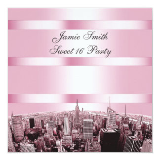 Etched NYC Skyline 2 Black Pink Sweet 16 Party Card