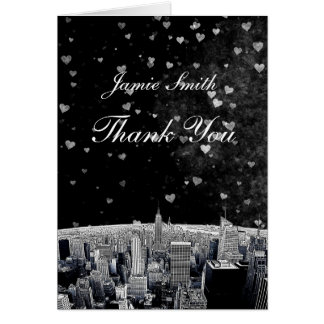 Etched NYC Skyline #2 Black Wht Heart Thank You Card
