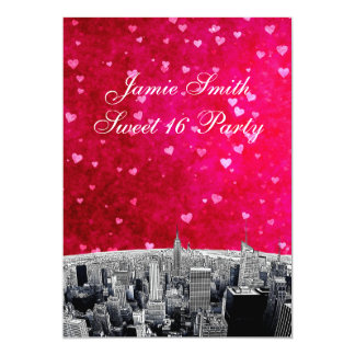 Etched NYC Skyline #2 Hot Pink Red Hrt Sweet 16 V Card
