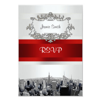 Etched NYC Skyline 2 White, Red Ribbon RSVP 9 Cm X 13 Cm Invitation Card