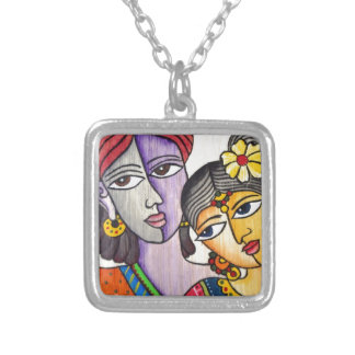 Eternal Lovers -Radha Krishna Silver Plated Necklace