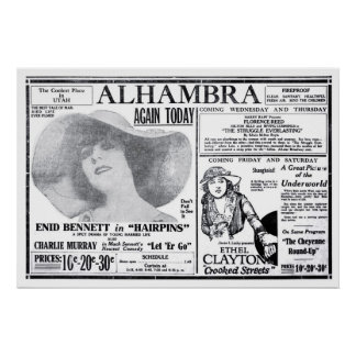 Ethel Clayton 1920 vintage movie ad poster