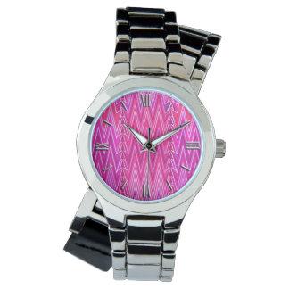 Ethnic Chevron Damask, Purple and Fuchsia Pink Watch