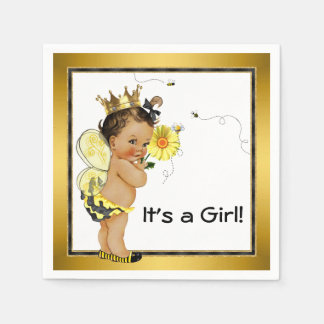 Ethnic Girl Bumble Bee Baby Shower Disposable Napkin