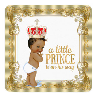 Ethnic Gold Royal Prince Baby Shower Card