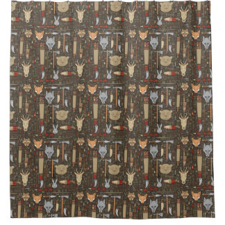 Ethnic Hunting Pattern Shower Curtain