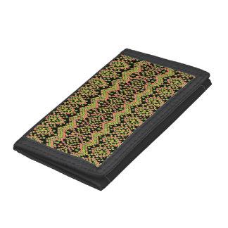 Ethnic Ikat Pattern on Black to Customize Tri-fold Wallets