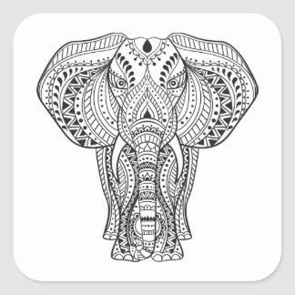 Ethnic Indian Elephant Square Sticker