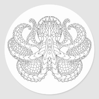 Ethnic Patterned Octopus Classic Round Sticker