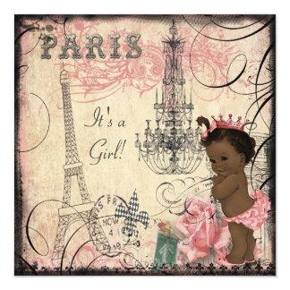 Ethnic Princess Paris Eiffel Tower Baby Shower 13 Cm X 13 Cm Square Invitation Card