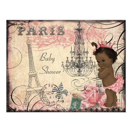 Ethnic Princess Paris Eiffel Tower Baby Shower Personalized Invite