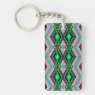 Ethnic rhombus Andes design green and cerise Key Ring
